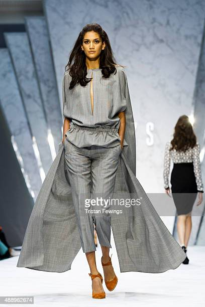 A model walks the runway at the DAKS show during London Fashion Week Spring/Summer 2016 on September 18 2015 in London England