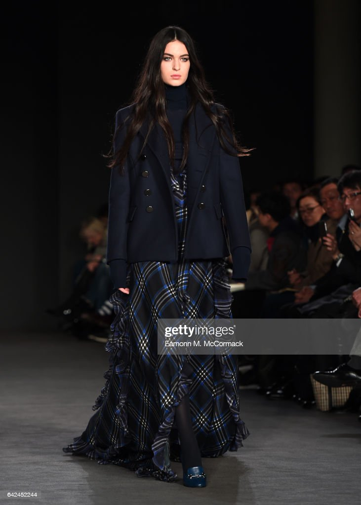 model-walks-the-runway-at-the-daks-show-during-the-london-fashion-picture-id642452244