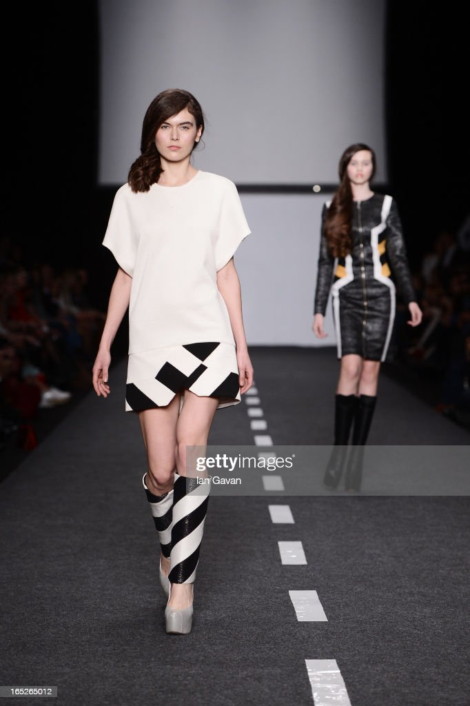 A model walks the runway at the Dasha Gauser show during Mercedes-Benz Fashion Week Russia Fall/Winter 2013/2014 at Manege on April 2, 2013 in Moscow, Russia.