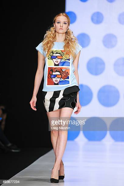 A model walks the runway at the Dasha Gauzer show during day 1 of Mercedes Benz Fashion Week Russia SS16 at Manege on October 21 2015 in Moscow Russia
