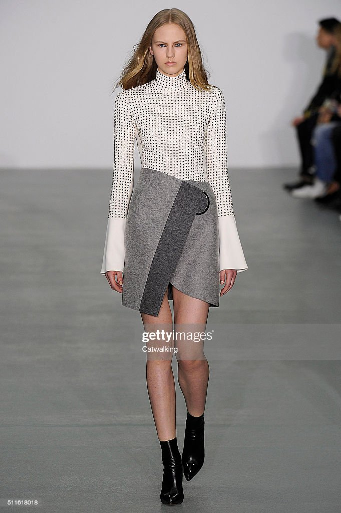 A model walks the runway at the David Koma Autumn Winter 2016 fashion show during London Fashion Week on February 21 2016 in London United Kingdom