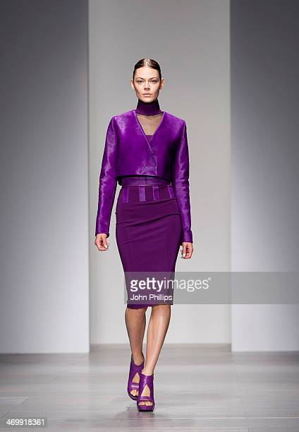 A model walks the runway at the David Koma show at London Fashion Week AW14 at Somerset House on February 17 2014 in London England