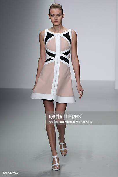A model walks the runway at the David Koma show during London Fashion Week SS14 at BFC Courtyard Showspace on September 14 2013 in London England