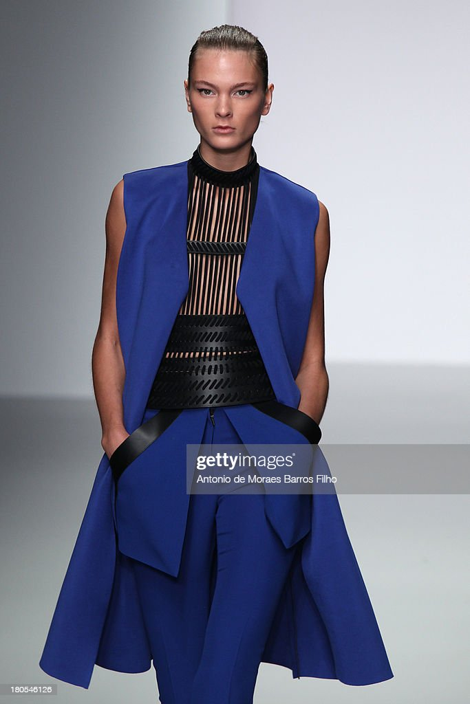 A model walks the runway at the David Koma show during London Fashion Week SS14 at BFC Courtyard Showspace on September 14, 2013 in London, England.