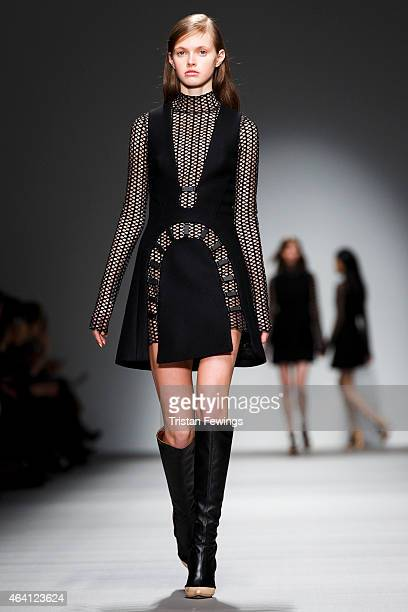 A model walks the runway at the David Koma show during London Fashion Week Fall/Winter 2015/16 at Somerset House on February 22 2015 in London England
