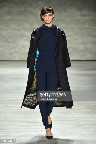 A model walks the runway at the David Tlale fashion show during MercedesBenz Fashion Week Fall 2014 at The Pavilion at Lincoln Center on February 9...