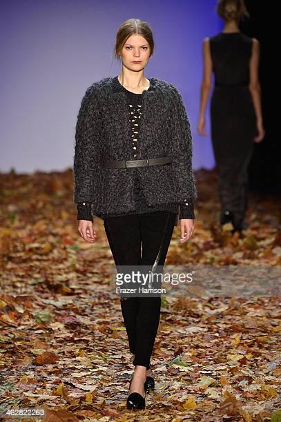 A model walks the runway at the Dawid Tomaszewski show during MercedesBenz Fashion Week Autumn/Winter 2014/15 at Brandenburg Gate on January 15 2014...