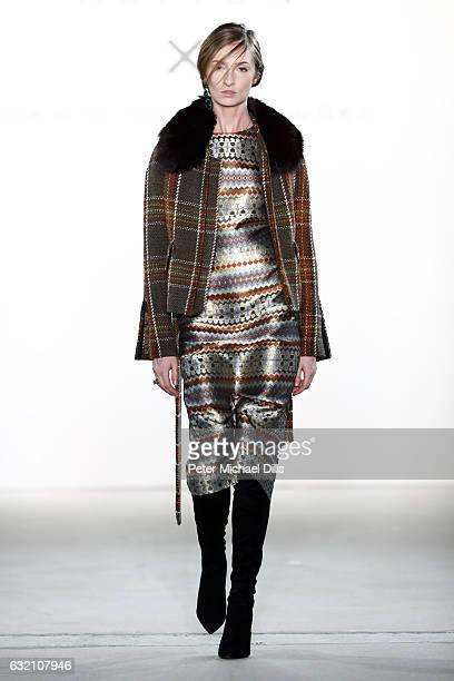 A model walks the runway at the Dawid Tomaszewski X Patrizia Aryton show during the MercedesBenz Fashion Week Berlin A/W 2017 at Kaufhaus Jandorf on...