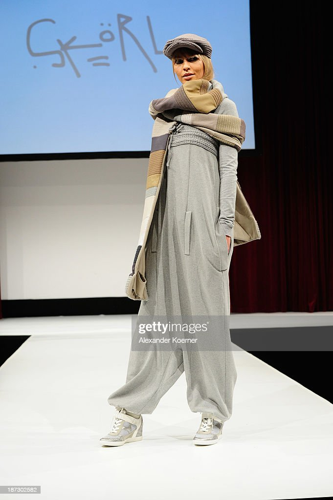 A model walks the runway at the Deichmann Shoe Step of the Year 2013 at Curio Haus on November 7, 2013 in Hamburg, Germany.