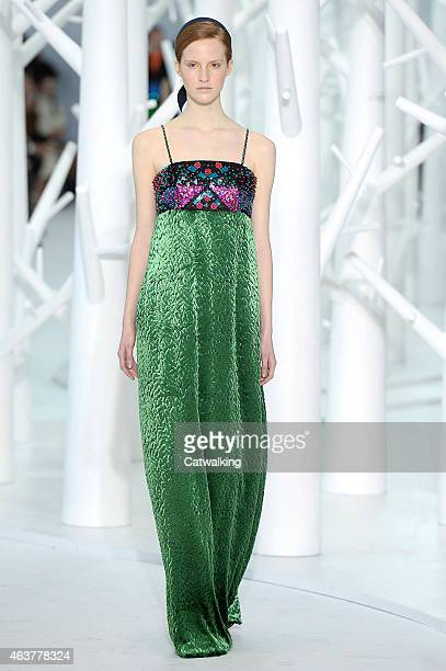 A model walks the runway at the Delpozo Autumn Winter 2015 fashion show during New York Fashion Week on February 18 2015 in New York United States