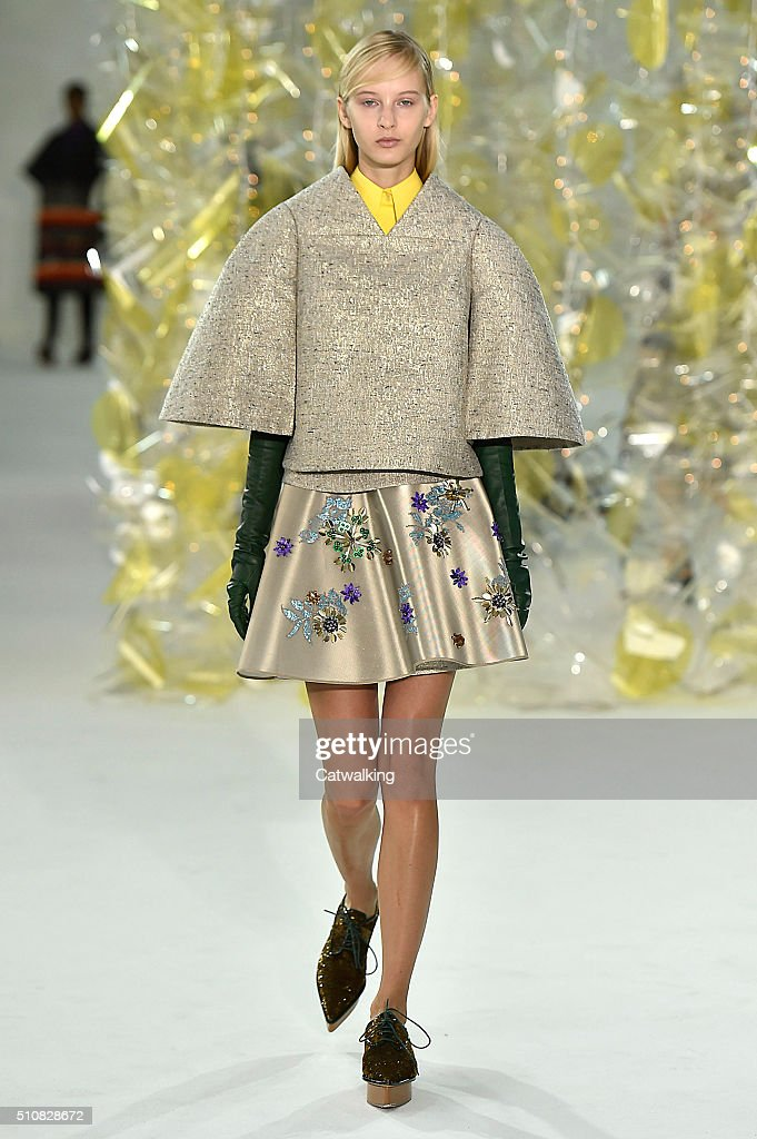 A model walks the runway at the Delpozo Autumn Winter 2016 fashion show during New York Fashion Week on February 17 2016 in New York United States