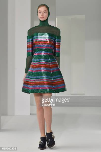 A model walks the runway at the Delpozo Autumn Winter 2017 fashion show during New York Fashion Week on February 15 2017 in New York United States