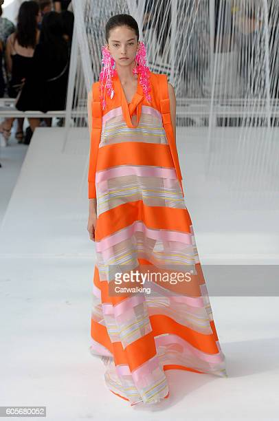 A model walks the runway at the Delpozo Spring Summer 2017 fashion show during New York Fashion Week on September 14 2016 in New York United States