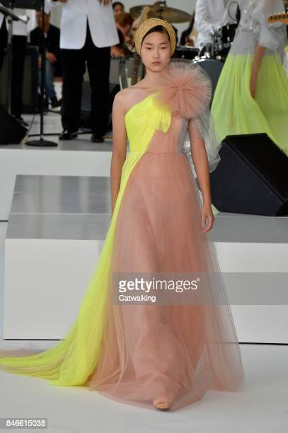 A model walks the runway at the Delpozo Spring Summer 2018 fashion show during New York Fashion Week on September 13 2017 in New York United States