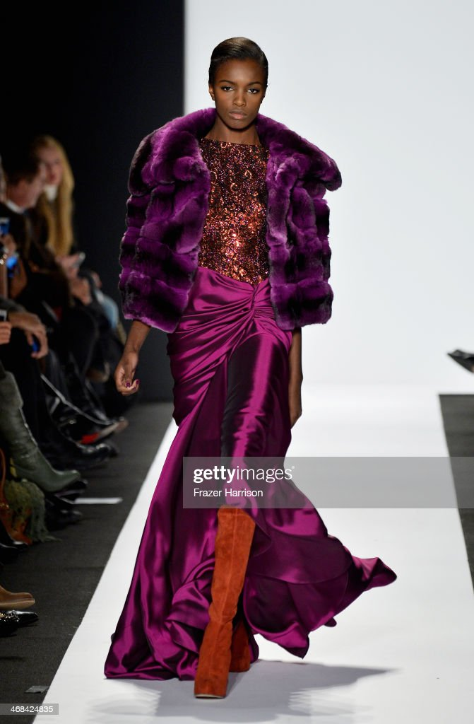 A model walks the runway at the Dennis Basso fashion show during Mercedes-Benz Fashion Week Fall 2014 at Lincoln Center on February 10, 2014 in New York City.