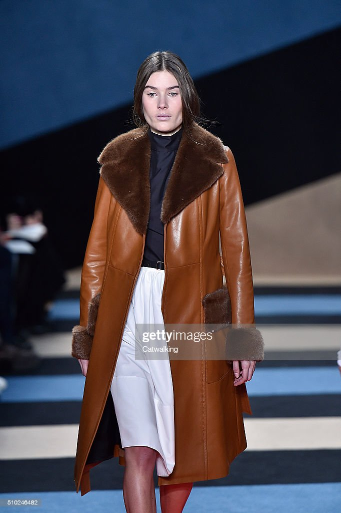 A model walks the runway at the Derek Lam Autumn Winter 2016 fashion show during New York Fashion Week on February 14, 2016 in New York, United States.