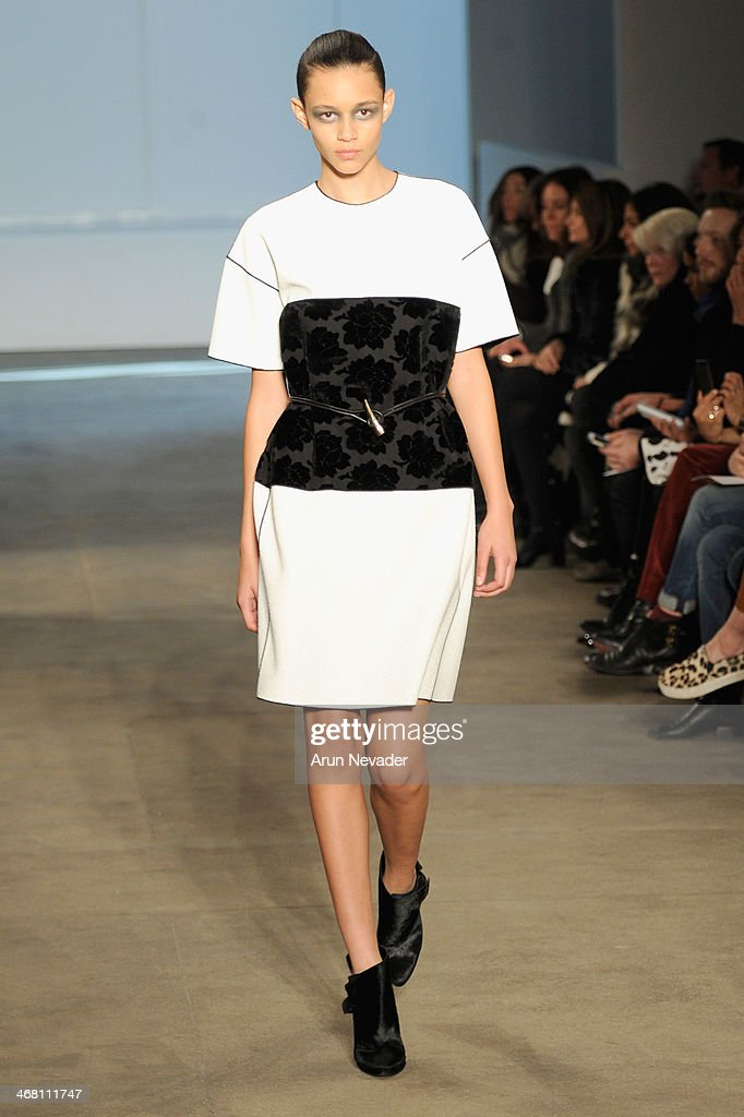 A model walks the runway at the Derek Lam fashion show during Mercedes-Benz Fashion Week Fall 2014 at Sean Kelly Gallery on February 9, 2014 in New York City.