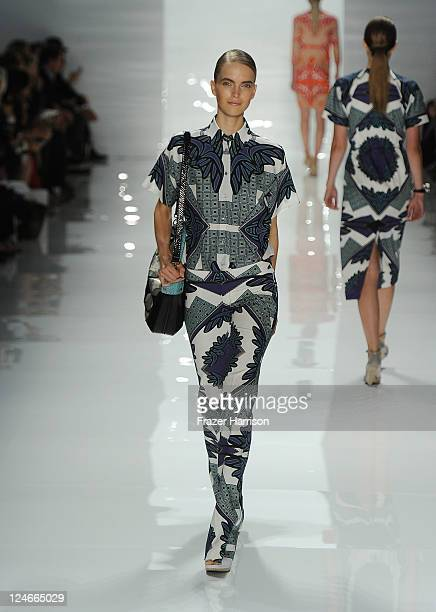 A model walks the runway at the Derek Lam Spring 2012 fashion show during MercedesBenz Fashion Week at The Stage at Lincoln Center on September 11...