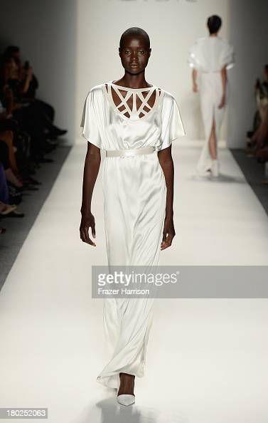 A model walks the runway at the Designer Alon Livné walks the runway at the Alon Livne fashion show during MercedesBenz Fashion Week Spring 2014 on...