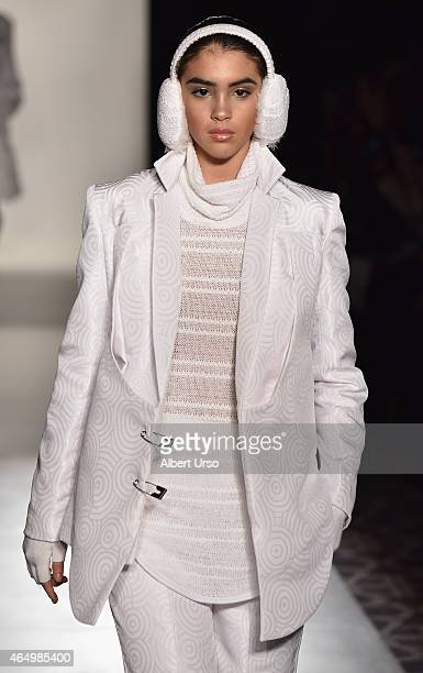 A model walks the runway at the Designers' Collective runway show featuring Ayasa Afi during MercedesBenz Fashion Week Fall 2015 on February 14 2015...