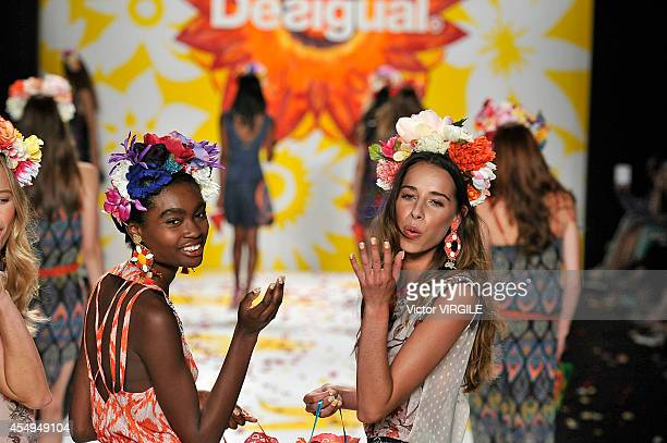 A model walks the runway at the Desigual fashion show during MercedesBenz Fashion Week Spring 2015 at The Theatre at Lincoln Center on September 4...
