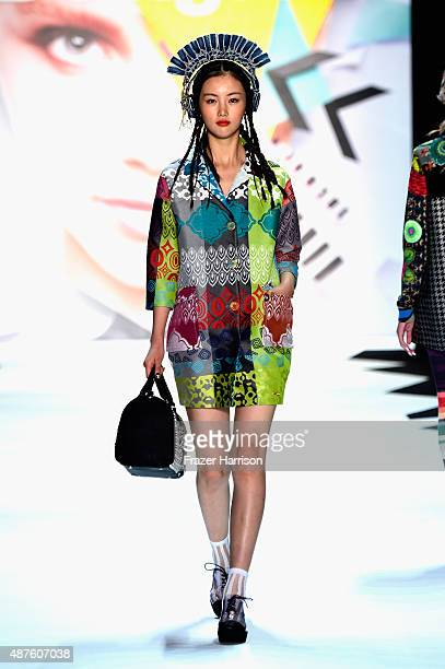 A model walks the runway at the Desigual fashion show during Spring 2016 New York Fashion Week The Shows at The Arc Skylight at Moynihan Station on...
