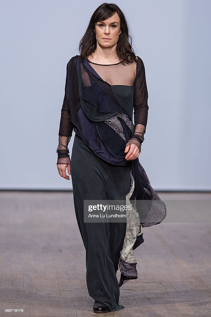 A model walks the runway at the Diana Orving show during Mercedes-Benz Stockholm Fashion Week AW14 on January 28, 2014 in Stockholm, Sweden.