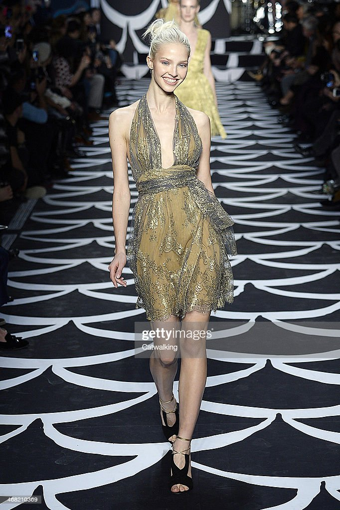 A model walks the runway at the Diane von Furstenberg Autumn Winter 2014 fashion show during New York Fashion Week on February 9, 2014 in New York, United States.