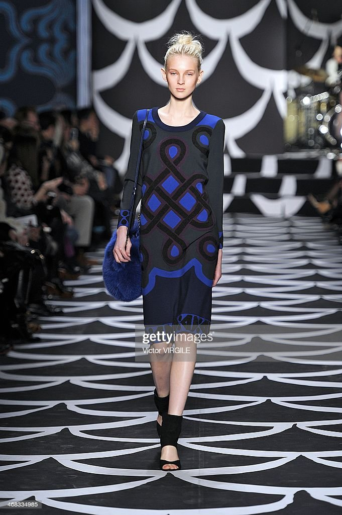 A model walks the runway at the Diane Von Furstenberg Ready to Wear Fall/Winter 2014-2015 fashion show during Mercedes-Benz Fashion Week Fall 2014 at Spring Studios on February 9, 2014 in New York City.