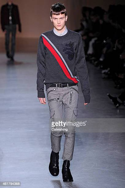 A model walks the runway at the Diesel Black Gold Autumn Winter 2015 fashion show during Milan Menswear Fashion Week on January 19 2015 in Milan Italy