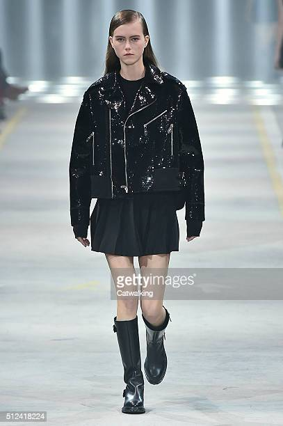 A model walks the runway at the Diesel Black Gold Autumn Winter 2016 fashion show during Milan Fashion Week on February 26 2016 in Milan Italy
