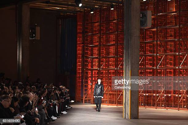 A model walks the runway at the Diesel Black Gold Autumn Winter 2017 fashion show during Milan Menswear Fashion Week on January 14 2017 in Milan Italy