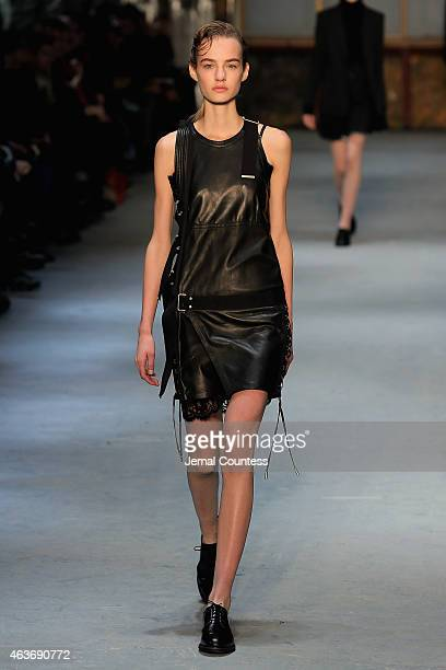 A model walks the runway at the Diesel Black Gold fashion show during MercedesBenz Fashion Week Fall 2015 on February 17 2015 in New York City