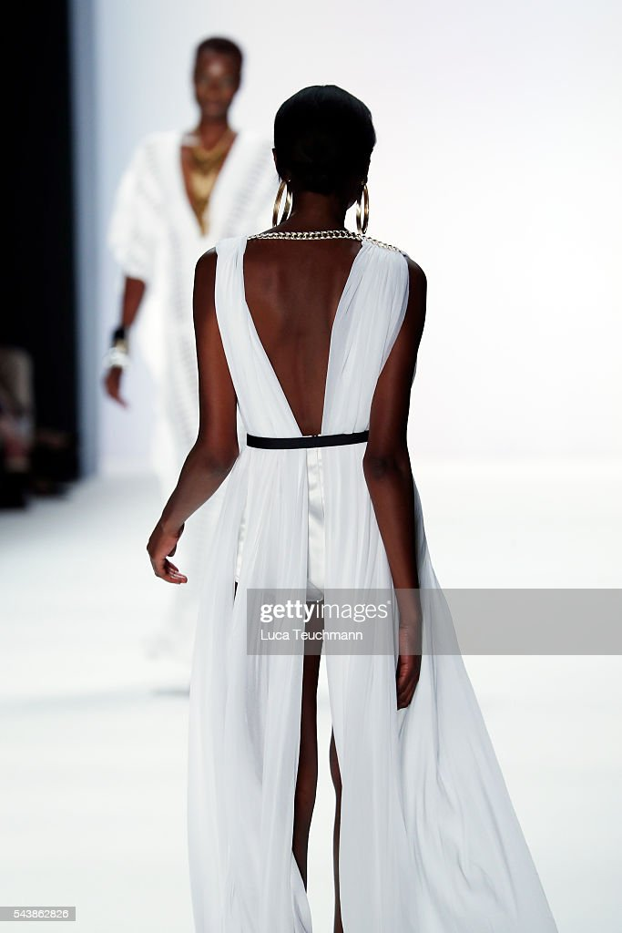 A model walks the runway at the Dimitri show during the Mercedes-Benz Fashion Week Berlin Spring/Summer 2017 at Erika Hess Eisstadion on June 30, 2016 in Berlin, Germany.
