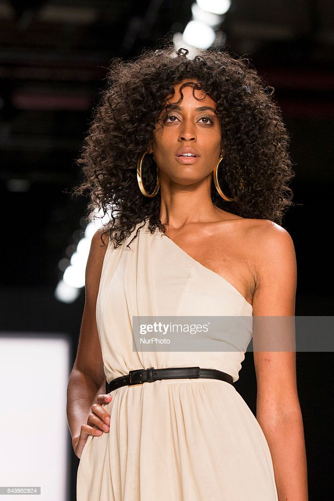 A model walks the runway at the Dimitri show during the Mercedes-Benz Fashion Week Berlin Spring/Summer 2017 at Erika Hess Eisstadion in Berlin, Germany on June 30, 2016.