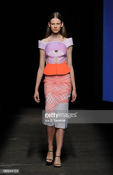 A model walks the runway at the Dion Lee fashion show during MercedesBenz Fashion Week Spring 2014 at Eyebeam on September 11 2013 in New York City