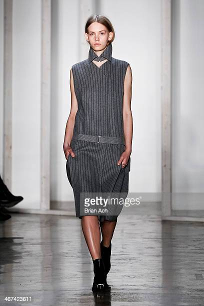 A model walks the runway at the Dion Lee fashion show during MADE Fashion Week Fall 2014 at Milk Studios on February 6 2014 in New York City