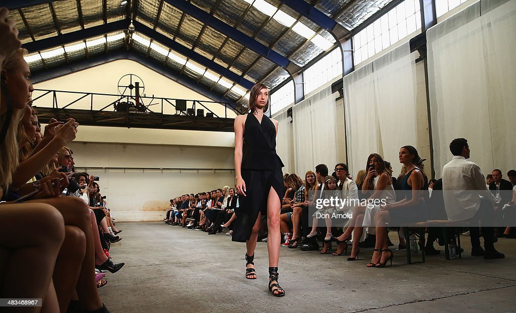 A model walks the runway at the Dion Lee show during Mercedes-Benz Fashion Week Australia 2014 at 7 Danks Street, Waterloo on April 9, 2014 in Sydney, Australia.