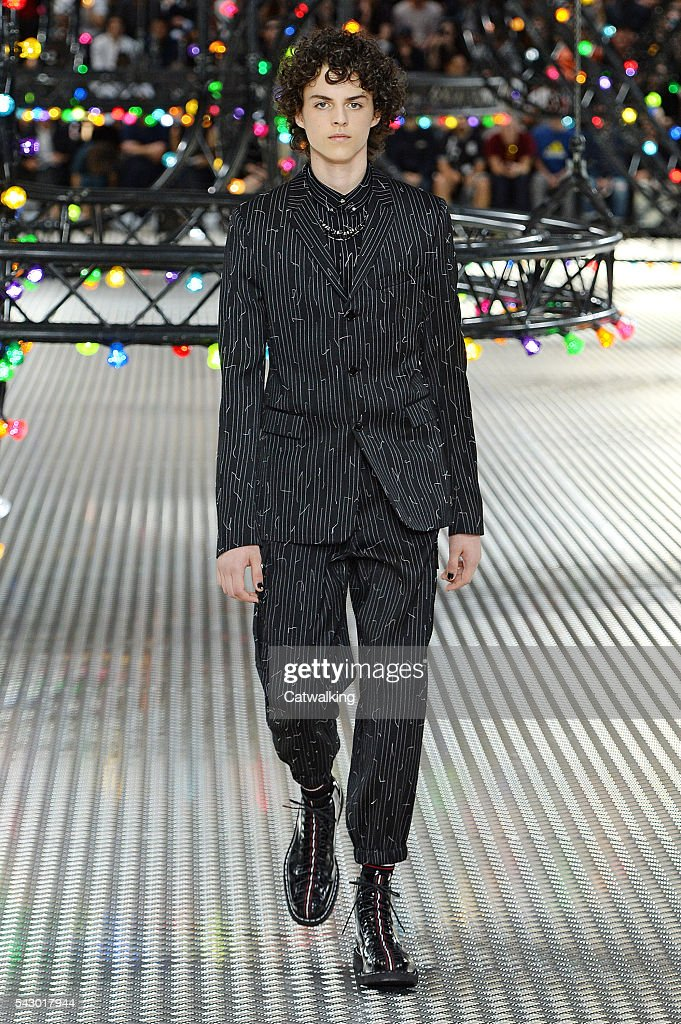 A model walks the runway at the Dior Homme Spring Summer 2017 fashion show during Paris Menswear Fashion Week on June 25, 2016 in Paris, France.
