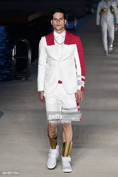 A model walks the runway at the Dirk Bikkembergs show during Milan Men's Fashion Week Spring/Summer 2017 on June 20 2016 in Milan Italy