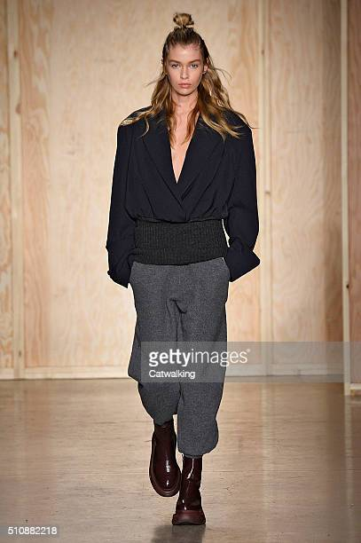 A model walks the runway at the DKNY Autumn Winter 2016 fashion show during New York Fashion Week on February 17 2016 in New York United States
