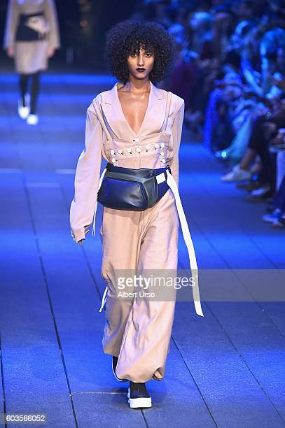 A model walks the runway at the DKNY Women fashion show during New York Fashion Week at the High Line on September 12 2016 in New York City