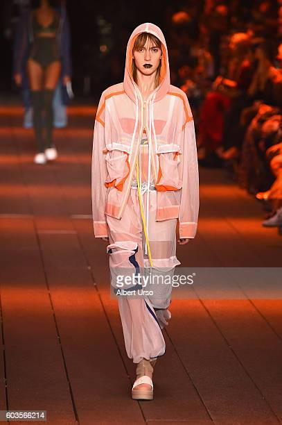 A model walks the runway at the DKNY Women fashion show during New York Fashion Week The Shows September 2016 at High Line on September 12 2016 in...