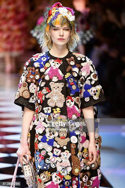 A model walks the runway at the Dolce Gabbana Autumn Winter 2016 fashion show during Milan Fashion Week on February 28 2016 in Milan Italy