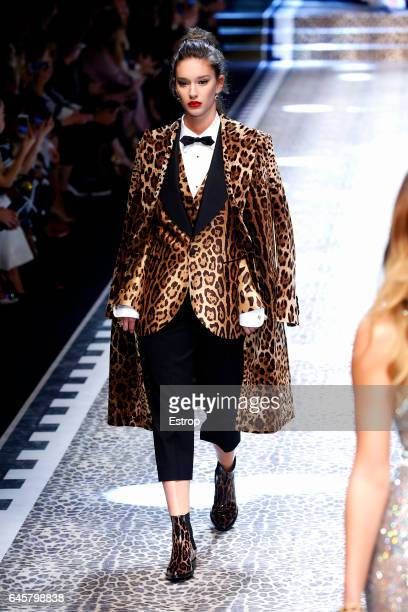 A model walks the runway at the Dolce Gabbana designed by Stefano Gabbana Domenico Dolce show during Milan Fashion Week Fall/Winter 2017/18 on...