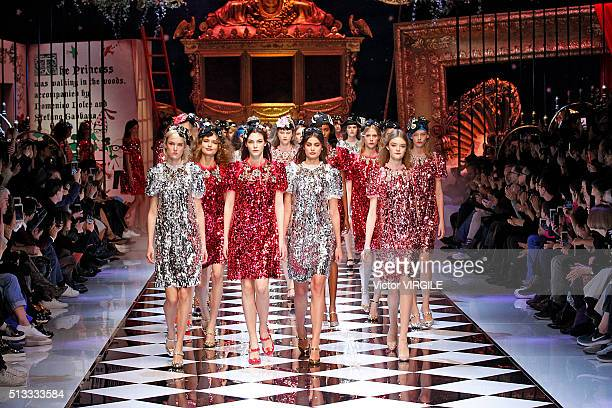 A model walks the runway at the Dolce Gabbana fashion show during Milan Fashion Week Fall/Winter 2016/2017 on February 28 2016 in Milan Italy