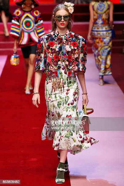 A model walks the runway at the Dolce Gabbana Ready to Wear Spring/Summer 2018 fashion show during Milan Fashion Week Spring/Summer 2018 on September...