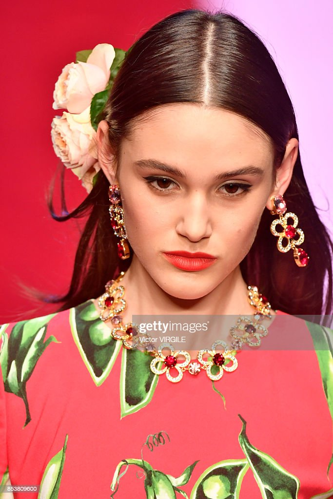 A model walks the runway at the Dolce & Gabbana Ready to Wear Spring/Summer 2018 fashion show during Milan Fashion Week Spring/Summer 2018 on September 24, 2017 in Milan, Italy.