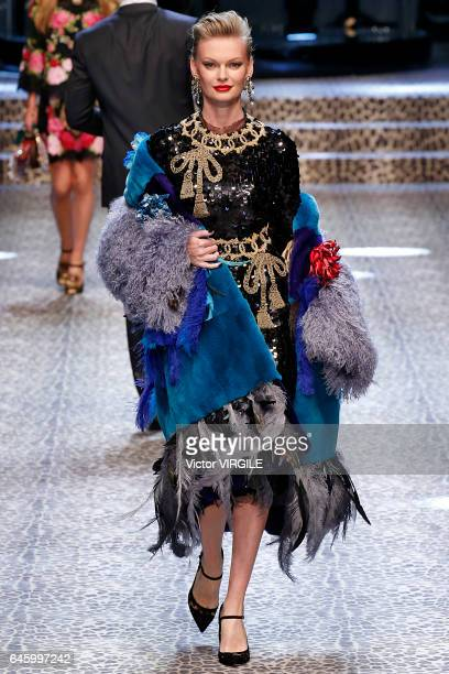 A model walks the runway at the Dolce Gabbana Ready to Wear fashion show during Milan Fashion Week Fall/Winter 2017/18 on February 26 2017 in Milan...