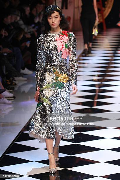 A model walks the runway at the Dolce Gabbana show during Milan Fashion Week Fall/Winter 2016/17 on February 28 2016 in Milan Italy